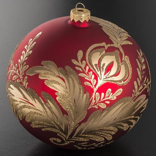 Addobbo albero vetro rosso oro 15 cm 3