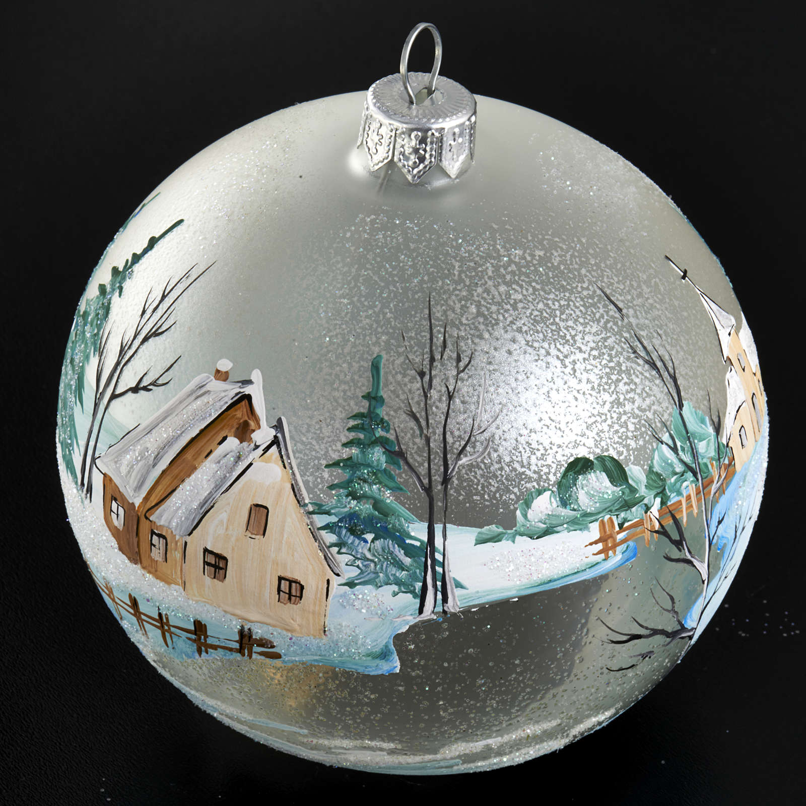 Palla per albero di Natale paesaggio innevato 10 cm 4