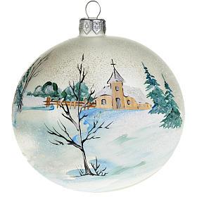 Palla per albero di Natale paesaggio innevato 10 cm s1