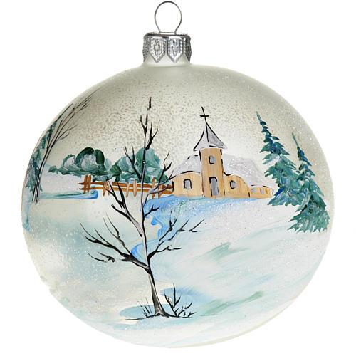 Palla per albero di Natale paesaggio innevato 10 cm 1