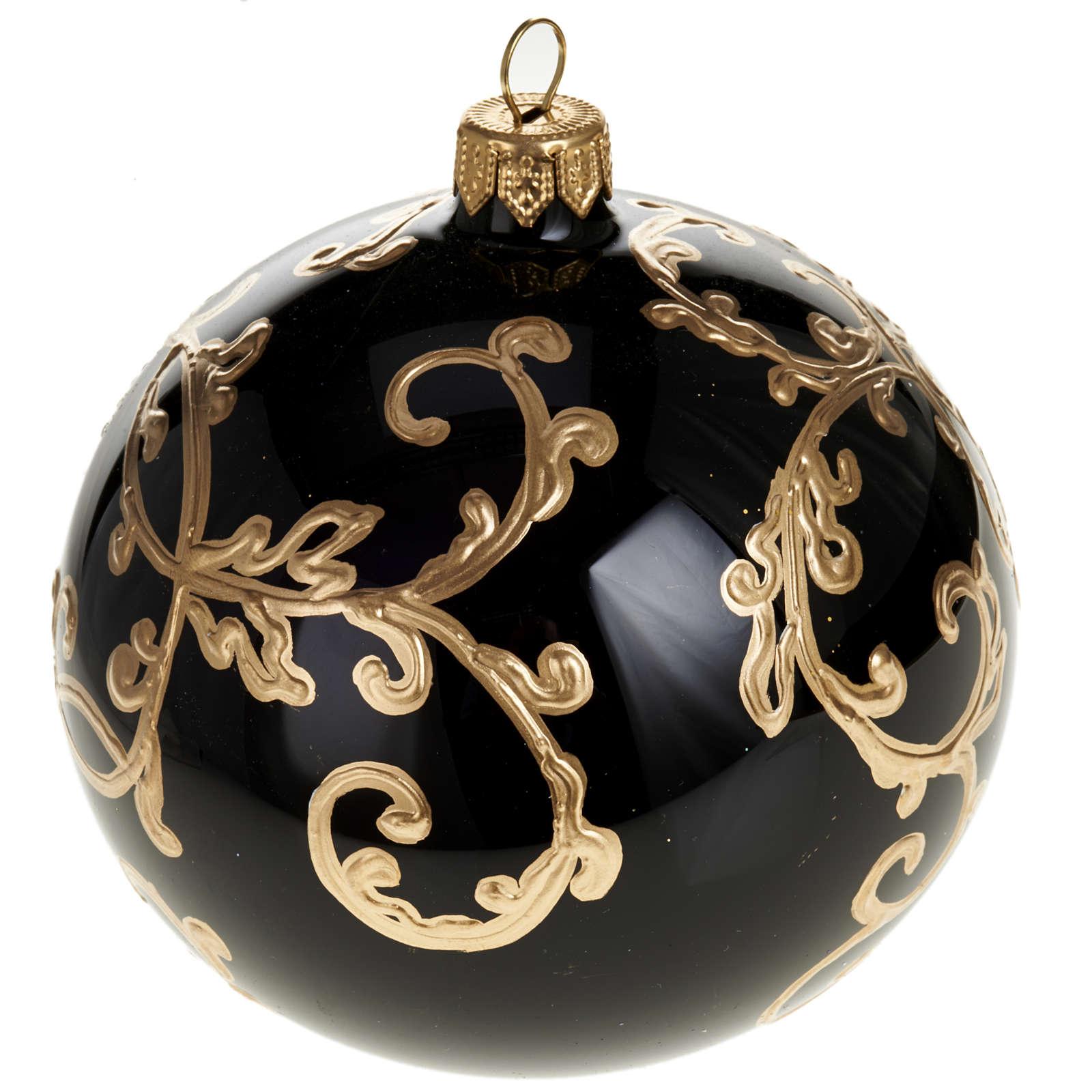 Albero Di Natale Nero E Oro.Palla Per Albero Di Natale Vetro Nero Oro 10 Cm