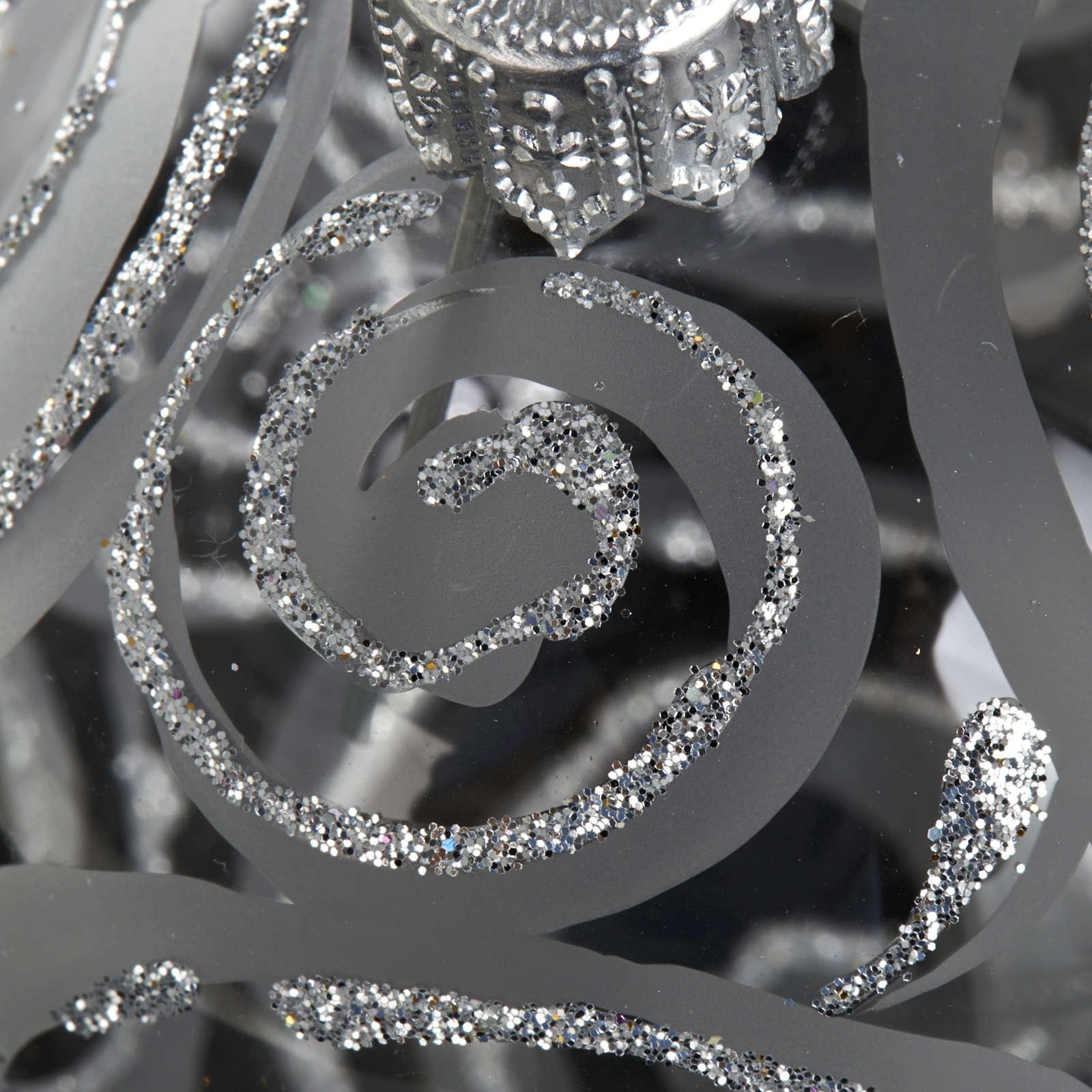 Decoro Albero Natale, palla vetro trasparente argento 6 cm 4