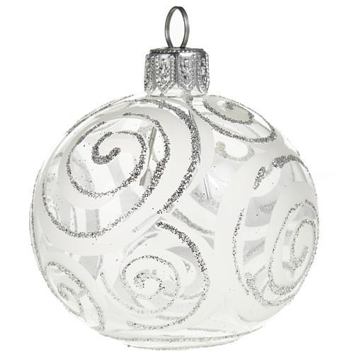 Decoro Albero Natale, palla vetro trasparente argento 6 cm 1