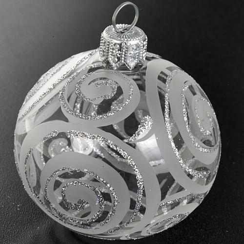 Decoro Albero Natale, palla vetro trasparente argento 6 cm 2