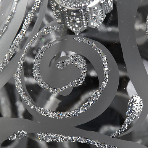 Decoro Albero Natale, palla vetro trasparente argento 6 cm 3