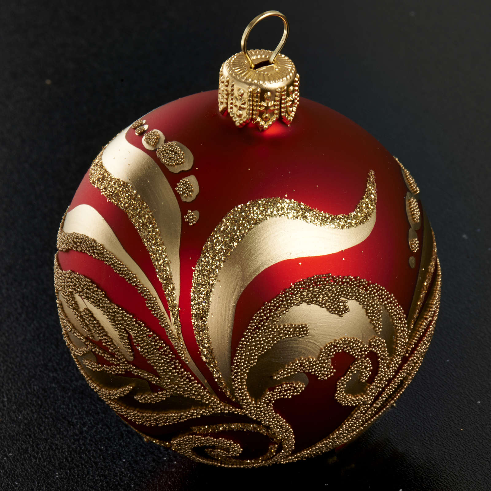 Christmas tree glass bauble, red and gold 6cm 4