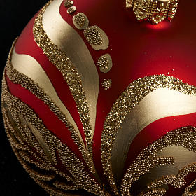 Christmas tree glass bauble, red and gold 6cm s4