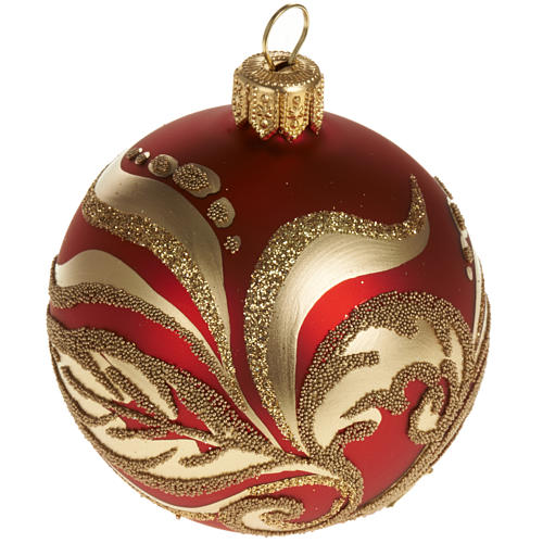 Christmas tree glass bauble, red and gold 6cm 1