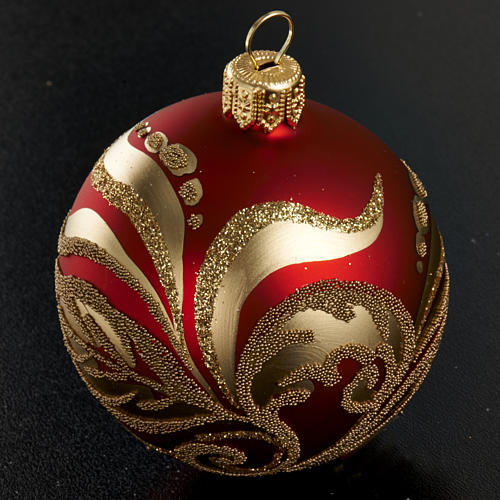 Christmas tree glass bauble, red and gold 6cm 2