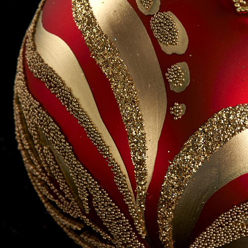 Christmas tree glass bauble, red and gold 6cm 3