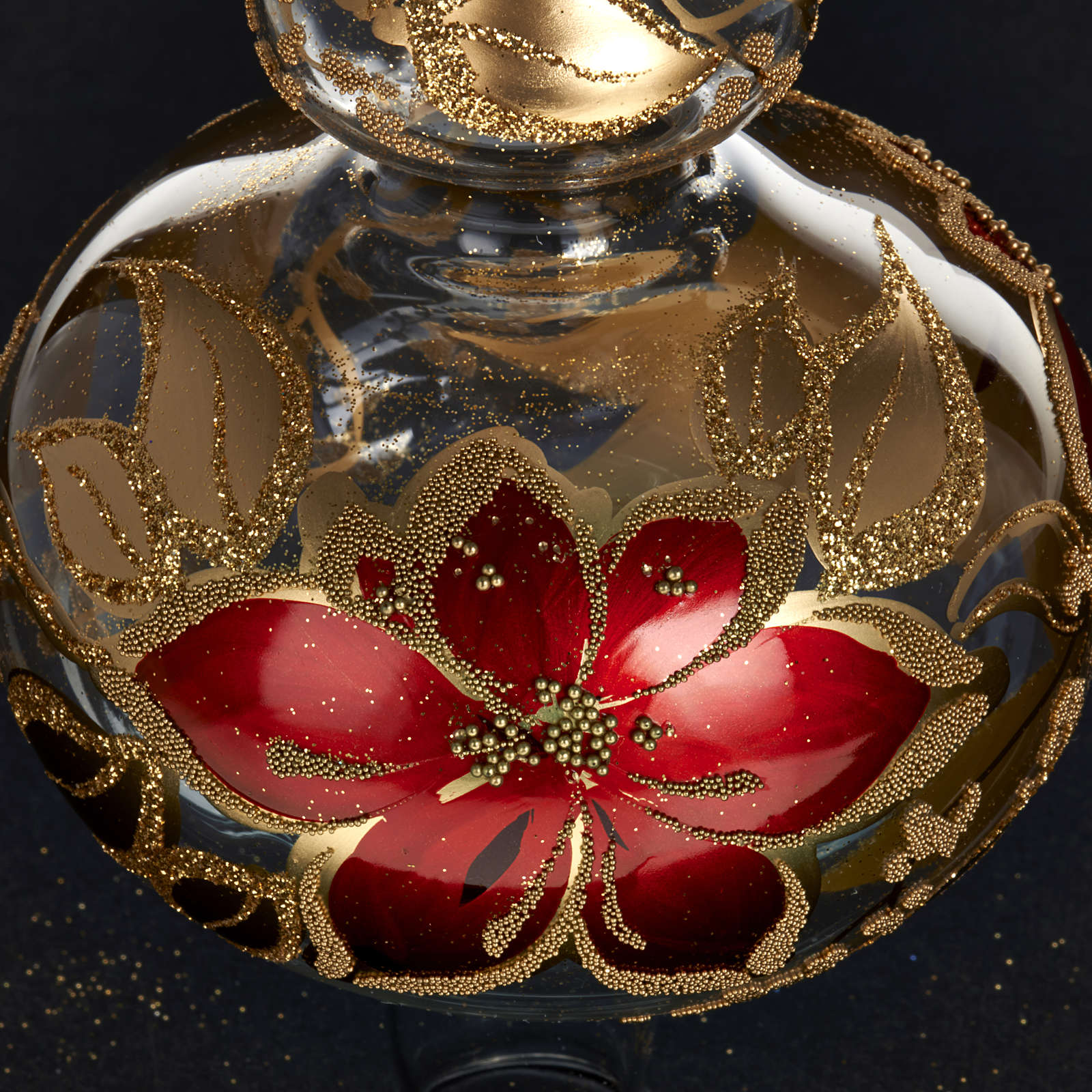Christmas tree topper in transparent glass, red and gold decor 4