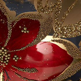Christmas tree topper in transparent glass, red and gold decor s4