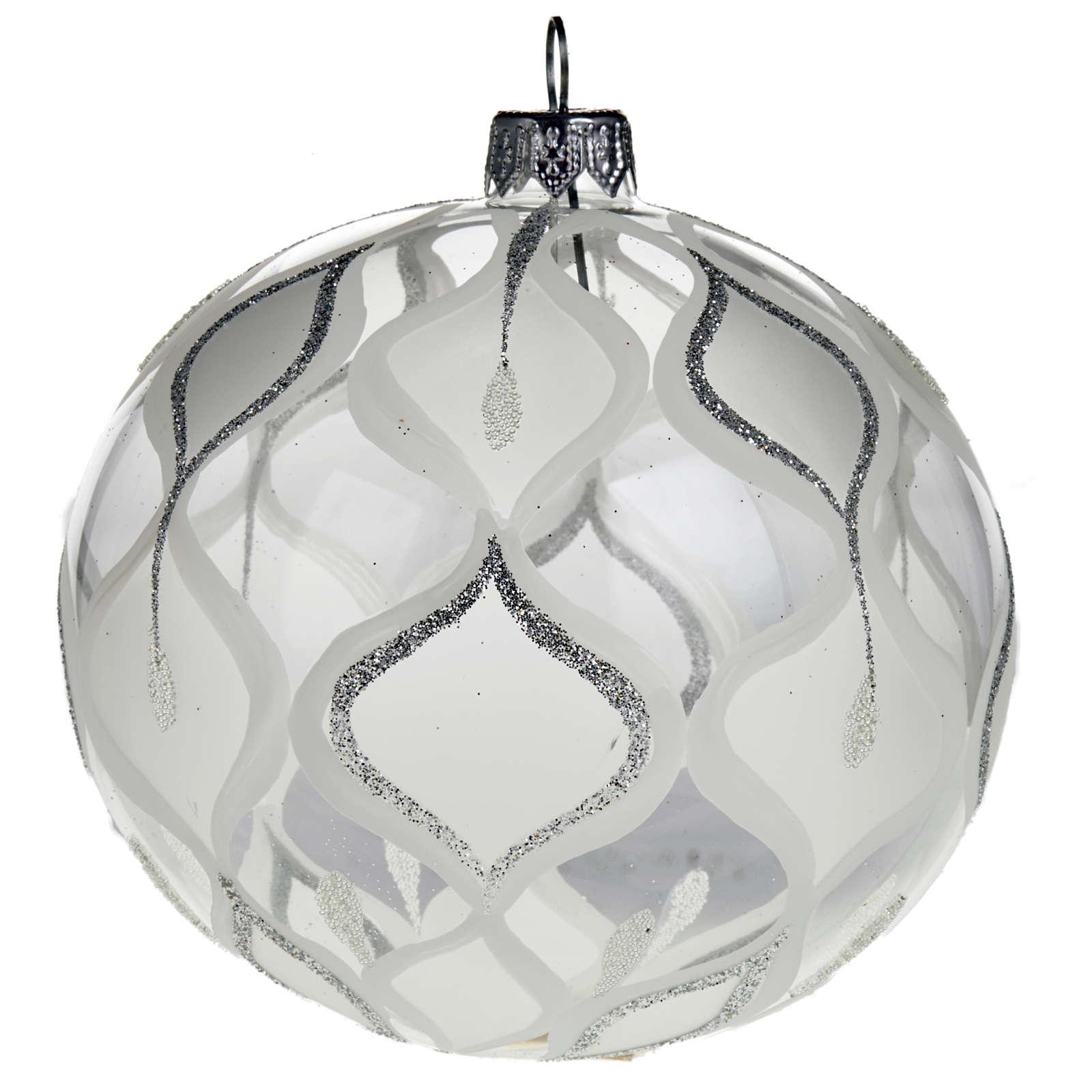 Ornement sapin, boule verre argentée 10 cm 4