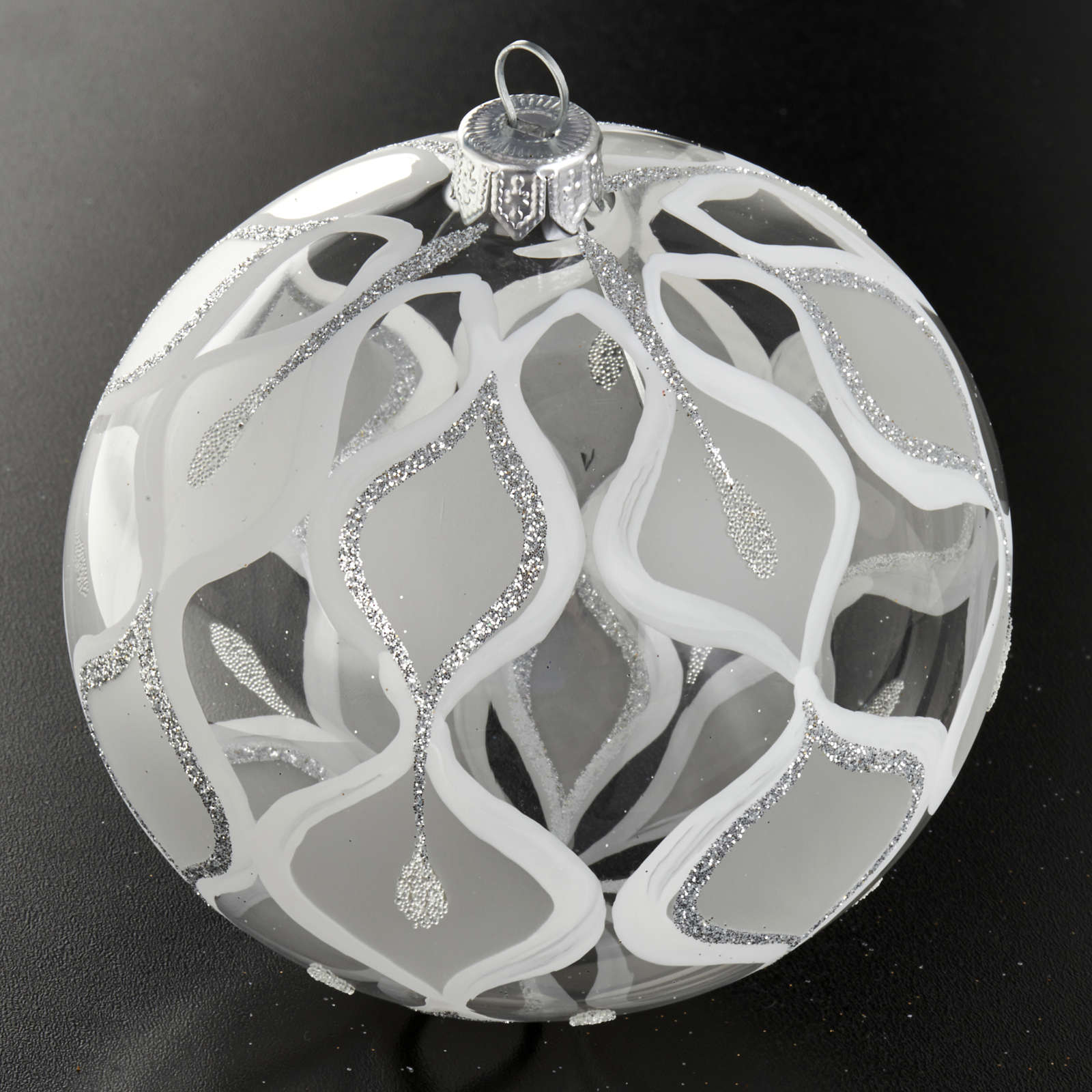 Decoro Albero Natale, palla vetro soffiato argentata 10 cm 4