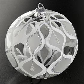 Decoro Albero Natale, palla vetro soffiato argentata 10 cm s2