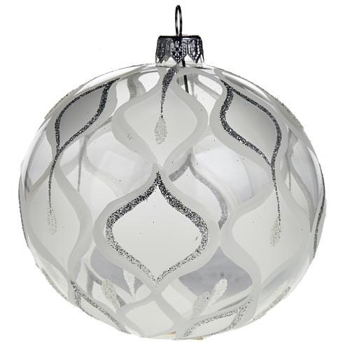 Decoro Albero Natale, palla vetro soffiato argentata 10 cm 1