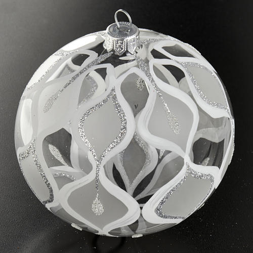 Decoro Albero Natale, palla vetro soffiato argentata 10 cm 2