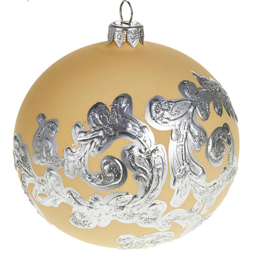 Decoro Albero Natale, palla vetro avorio argento 10 cm 1