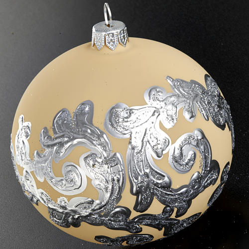 Decoro Albero Natale, palla vetro avorio argento 10 cm 3