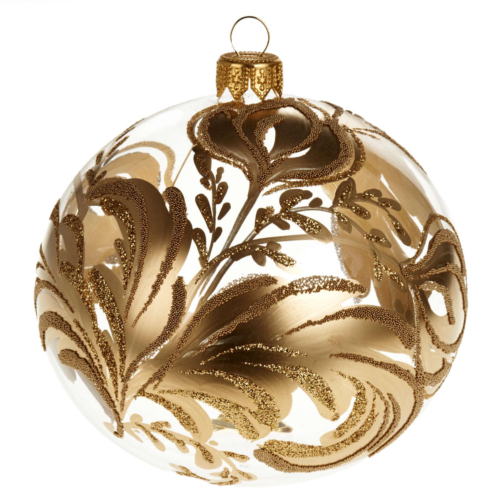 Decoro Albero Natale, palla vetro soffiato dorata 10 cm 4