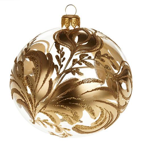 Decoro Albero Natale, palla vetro soffiato dorata 10 cm 1
