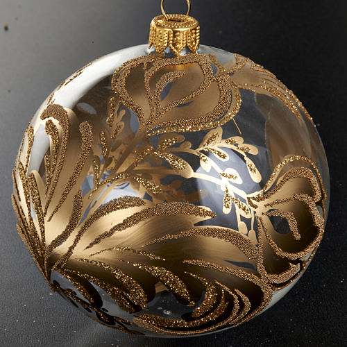 Decoro Albero Natale, palla vetro soffiato dorata 10 cm 2