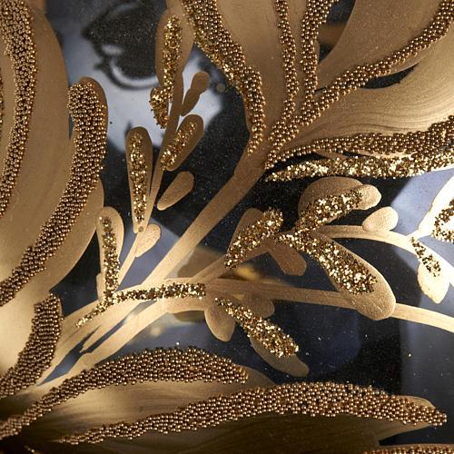Decoro Albero Natale, palla vetro soffiato dorata 10 cm 3