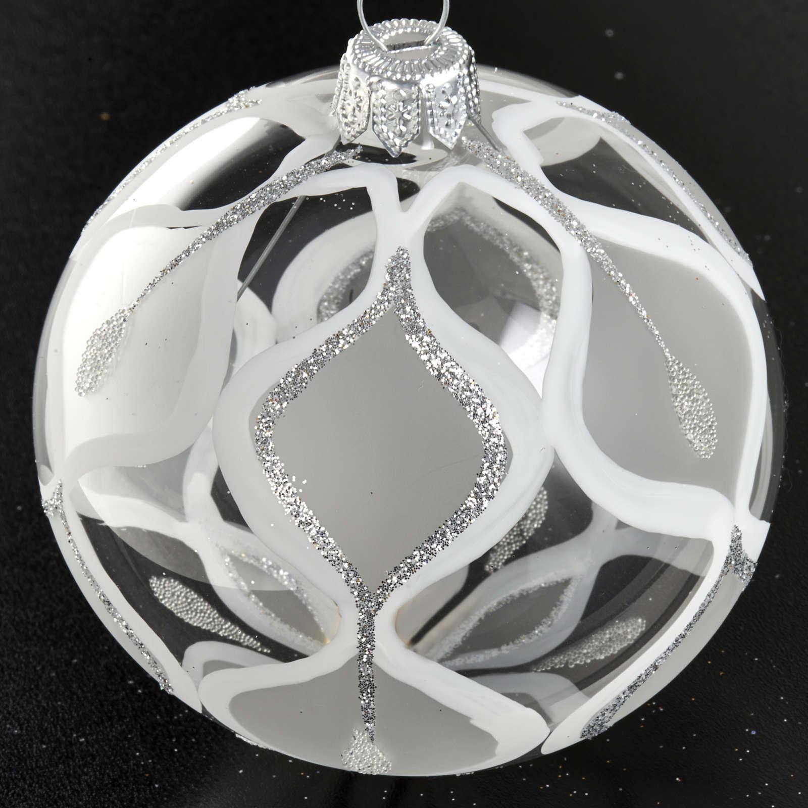 Decoro Albero Natale, palla vetro argento 8 cm 4