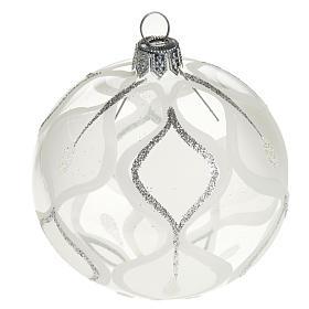 Decoro Albero Natale, palla vetro argento 8 cm s1