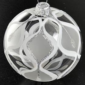 Decoro Albero Natale, palla vetro argento 8 cm s2