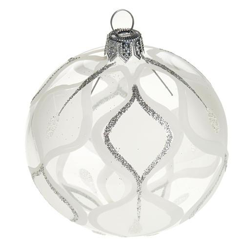 Decoro Albero Natale, palla vetro argento 8 cm 1