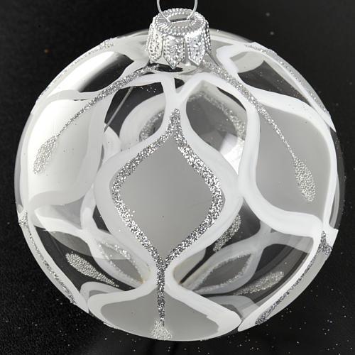 Decoro Albero Natale, palla vetro argento 8 cm 2
