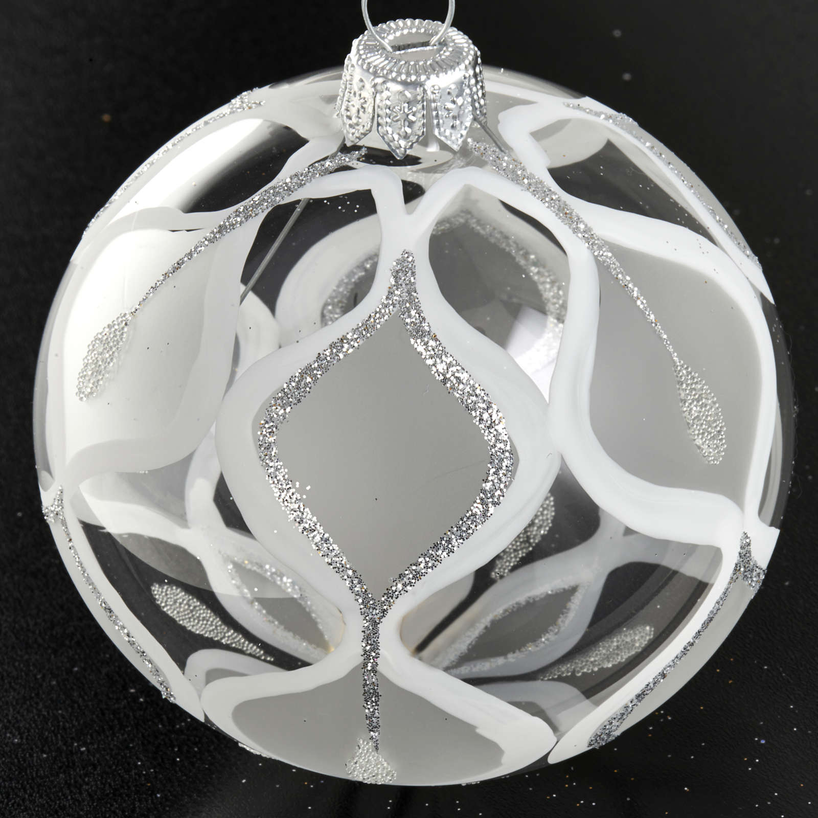 Christmas tree bauble glass with silver decorations, 8cm 4