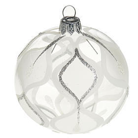 Christmas tree bauble glass with silver decorations, 8cm s1