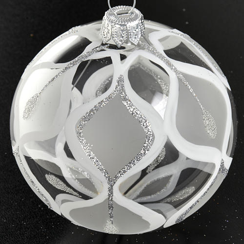 Christmas tree bauble glass with silver decorations, 8cm 2