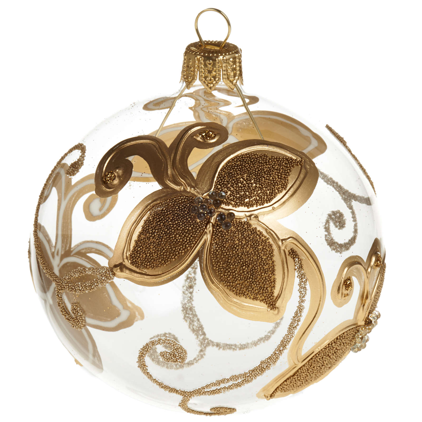 Decoro Albero Natale, palla vetro fiore oro 8 cm 4