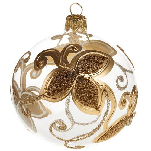 Decoro Albero Natale, palla vetro fiore oro 8 cm 1