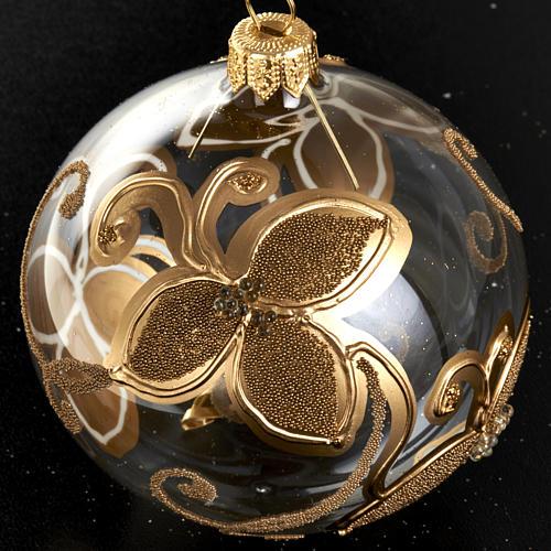 Decoro Albero Natale, palla vetro fiore oro 8 cm 2
