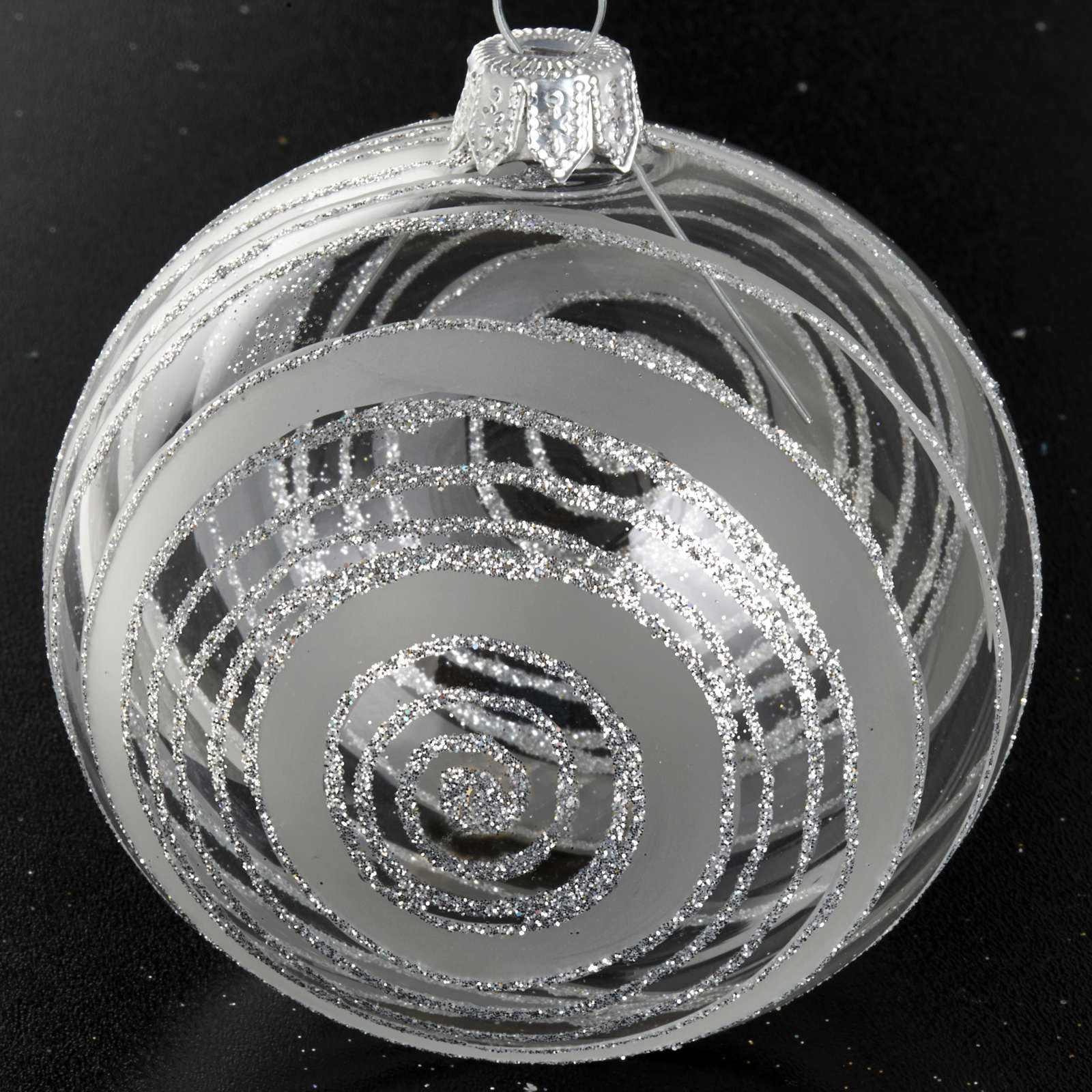 Christmas tree bauble in glass with silver decor 8cm 4
