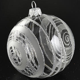 Christmas tree bauble in glass with silver decor 8cm s3