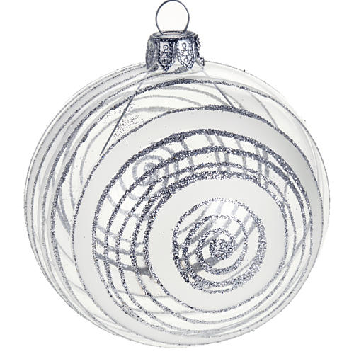 Christmas tree bauble in glass with silver decor 8cm 1