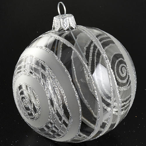 Christmas tree bauble in glass with silver decor 8cm 3