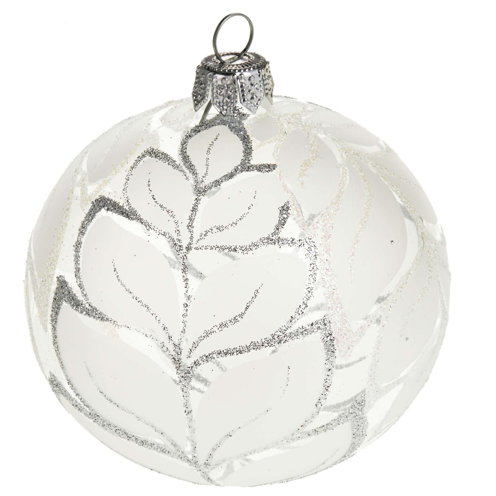 Decoro Albero Natale, palla vetro decori argentati 8 cm 4