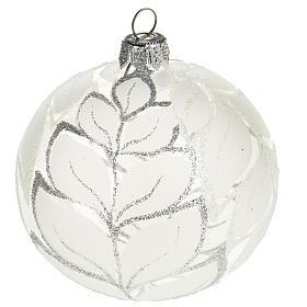 Decoro Albero Natale, palla vetro decori argentati 8 cm s1
