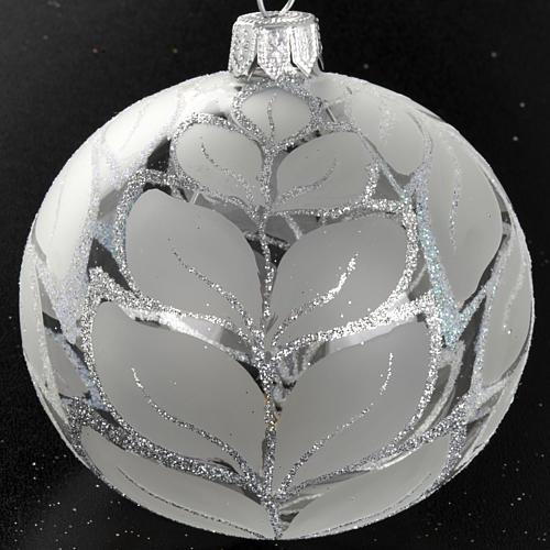 Decoro Albero Natale, palla vetro decori argentati 8 cm 2