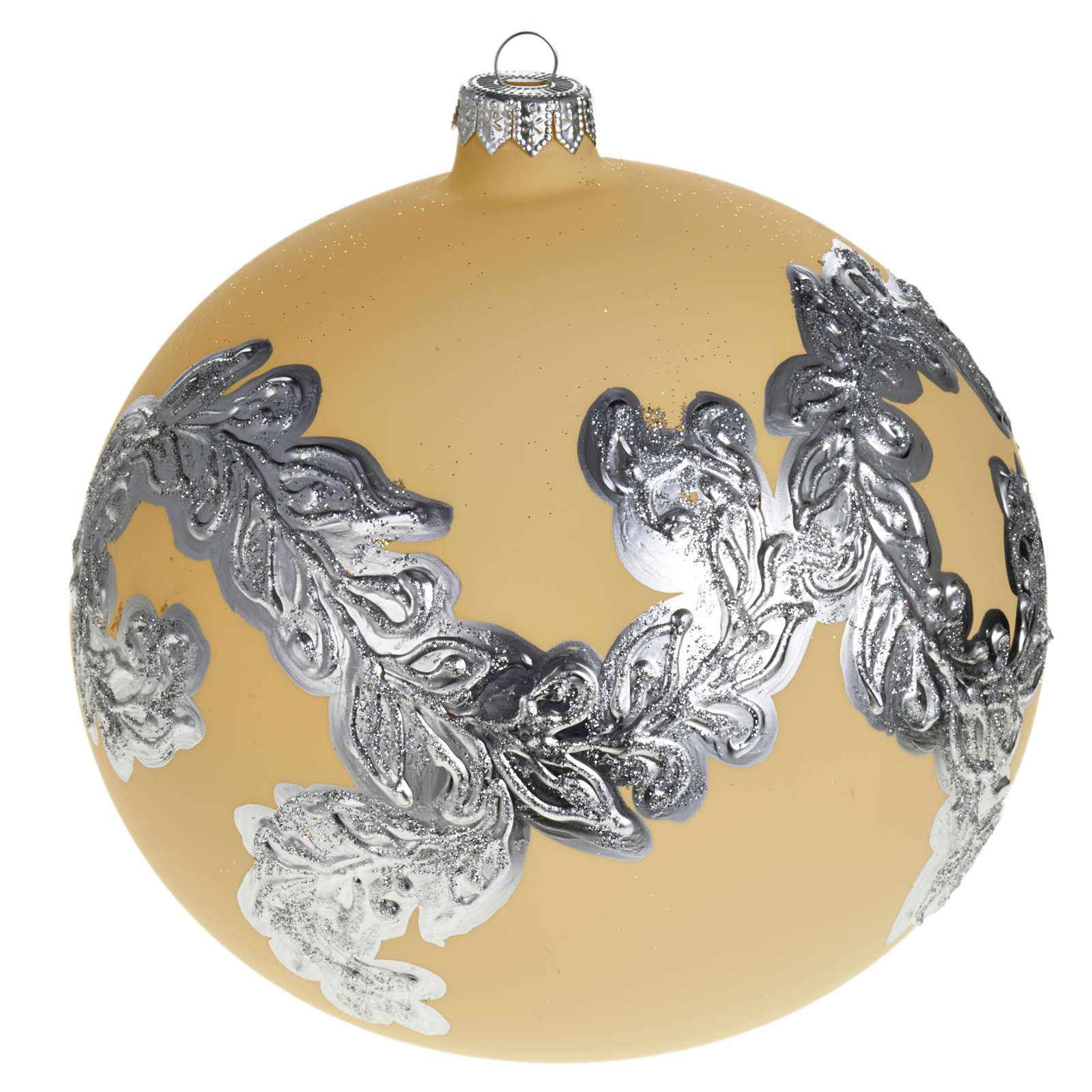 Árbol Navidad, bola de vidrio soplado color marfil y plata 4