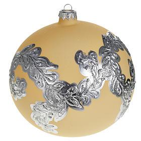 Árbol Navidad, bola de vidrio soplado color marfil y plata s1