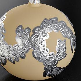 Árbol Navidad, bola de vidrio soplado color marfil y plata s2