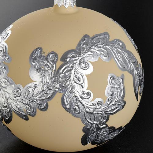 Árbol Navidad, bola de vidrio soplado color marfil y plata 2