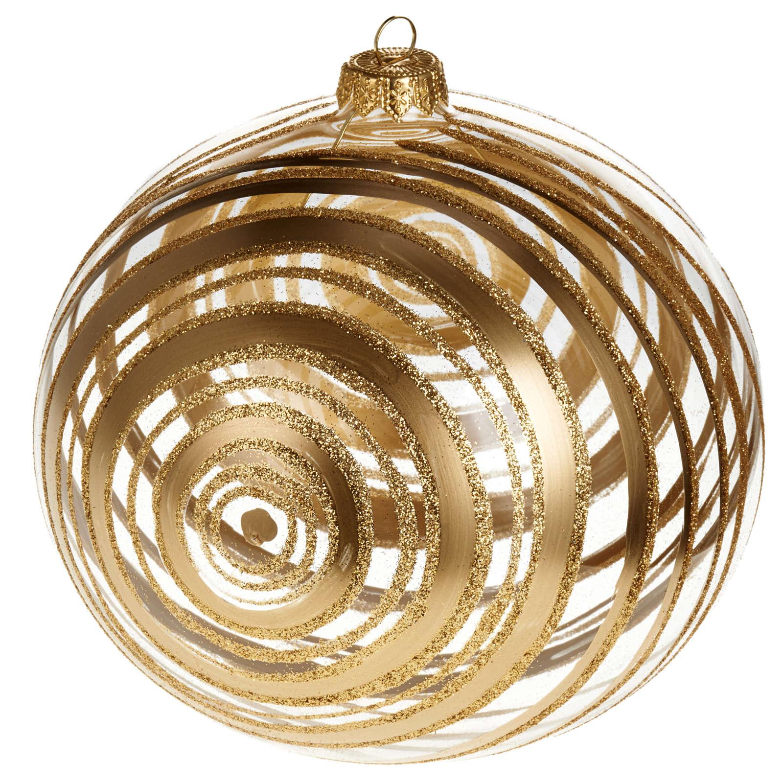 Ornement sapin en verre spirales or 15 cm 4